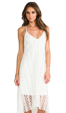 T-Bags LosAngeles Crochet Asymmetrical Dress in White