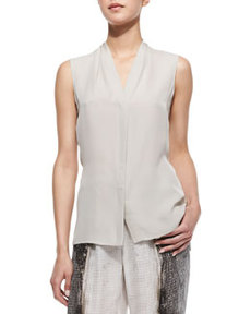 Hayden Sleeveless Shawl-Collar Blouse, Pale Oak   Hayden Sleeveless Shawl-Collar Blouse, Pale Oak