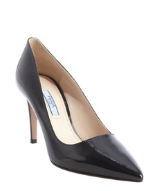 Prada black safiano leather pointed toe pumps