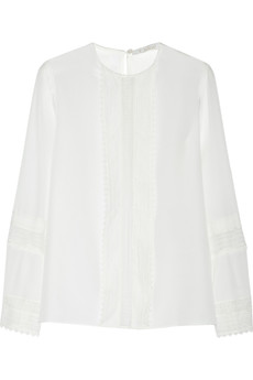 Chloé Lace-paneled silk blouse