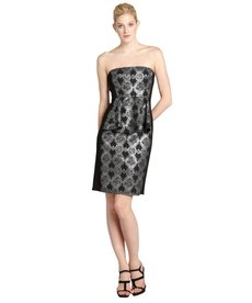 A.B.S. by Allen Schwartz black and silver shimmer floral jacquard bustled strapless dress
