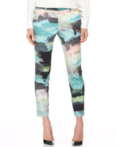 Caroline Printed Ankle Pants, Multi   Caroline Printed Ankle Pants, Multi
