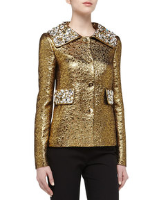 Michael Kors Rhinestone Studded Brocade Jacket, Gold