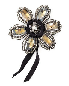 Lanvin Crystal Flower Brooch