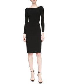 Michael Kors Double-Face Crepe Sheath Dress, Black