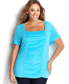 INC International Concepts Plus Size Short-Sleeve Ruched Top