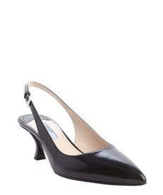 Prada black leather sling back pointed toe kitten pumps