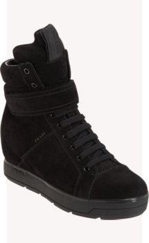 Prada Linea Rossa Suede High Top Wedge Sneaker