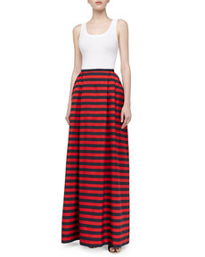 Michael Kors Cabana Stripe Maxi Skirt, Midnight/Crimson