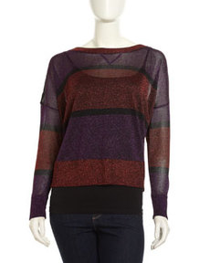 French Connection Striped Twinkle-Knit Sweater, Purple/Dark Pink/Black