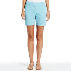 Stretch Cotton Seersucker Short Shorts