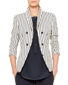 Striped Double-Breasted Blazer   Striped Double-Breasted Blazer