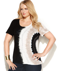 INC International Concepts Plus Size Cap-Sleeve Embellished Tie-Dye Tee