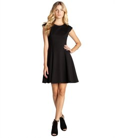 A.B.S. by Allen Schwartz black stretch knit leather trimmed cap sleeve fit and flare dress