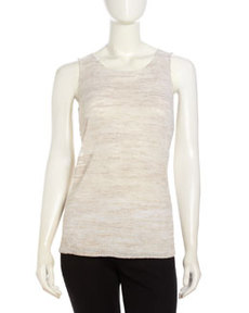 Lafayette 148 New York Dual-Knit Tank Top, Khaki Melgange
