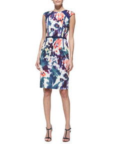 David Meister Printed & Belted Cap-Sleeve Sheath Dress