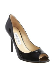 Jimmy Choo black leather peep toe 'Mia' pumps