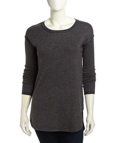 Joie Claribel Exposed Seam Knit Sweater, Dark Heather Gray/Heather Midnight