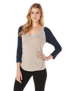 3/4 sleeve split neck baseball tee