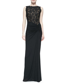 Tadashi Shoji Sleeveless Lace-Bodice Gown with Draped Skirt, Black