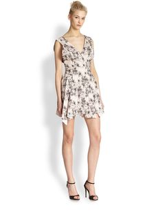 Robert Rodriguez Floral-Print Pleated Dress