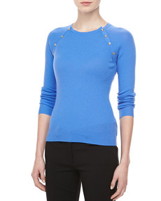 Michael Kors Button-Shoulder Cashmere Top, Sea