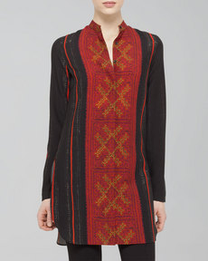 Akris punto Cross-Stitch-Print Wool Tunic, Black/Coral