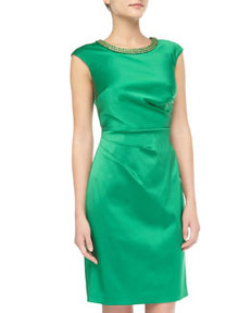 Kay Unger New York Ruched Satin Cocktail Dress, Grass