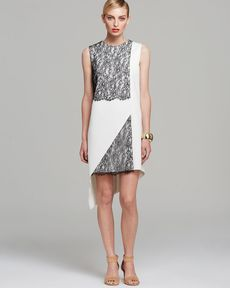 Robert Rodriguez Dress - Sleeveless Geo Lace Asymmetric Shift
