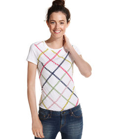Tommy Hilfiger Short-Sleeve Lattice-Print Tee