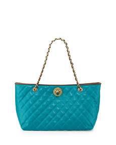 Moschino Borsa Quilted Faux-Leather Tote, Taupe/Turquoise