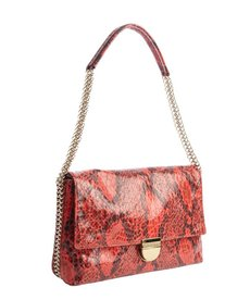 Stella McCartney red snake embossed leather chain accent shoulder bag
