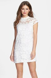 Cynthia Steffe Embroidered Lace Organza Shift Dress
