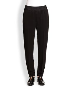 3.1 Phillip Lim Silk Satin-Trimmed Straight Leg Pants