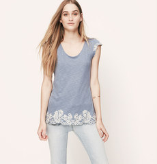 Petite Embroidered Flutter Sleeve Tee