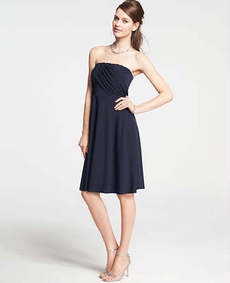 Petite Jersey Shirred Strapless Dress
