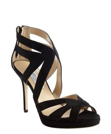 Jimmy Choo black shimmering suede cutout pumps