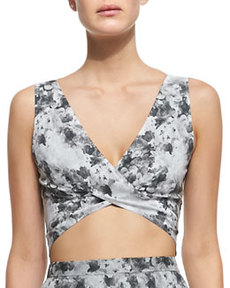 Robert Rodriguez Floral Cross-Front Crop Top