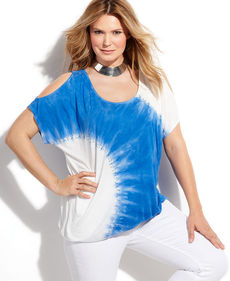 INC International Concepts Plus Size Short-Sleeve Cutout Tie-Dye Top