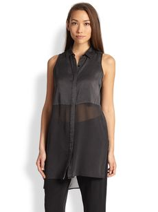 Eileen Fisher Washed Silk Sleeveless Blouse