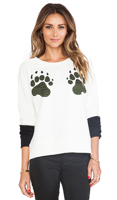 Tibi Paw Sweatshirt in White