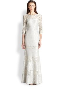 Kay Unger Fit-And-Flare Lace Gown