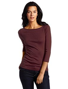 Three Dots Women's Three-Quarter Sleeve British Tee Shirt