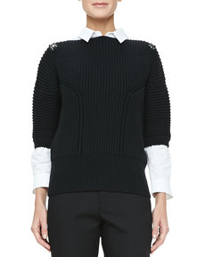 Jil Sander Jeweled-Shoulder Knit Top