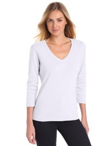 Three Dots Red Womens 3/4 Sleeve Deep V Original Weight