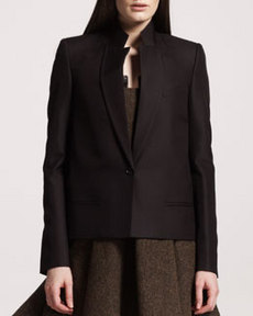 One-Button Wool-Silk Jacket   One-Button Wool-Silk Jacket