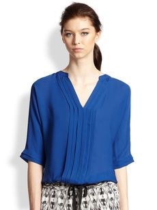 Joie Marru Silk Pintuck-Paneled Blouse