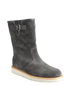 Gucci smoke grey gg suede buckled boots