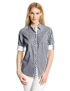 Jones New York Women's Roll Sleeve Shirt with Contrast Trim