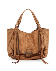 Kooba Jonnie Croc-Embossed Hobo Bag, Tan